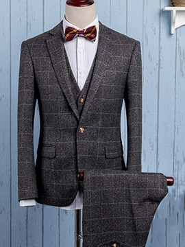 Mid Plaid Three Pieces Mens Dress Suit