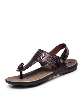 Embossed Pu Thong Flat Sandals