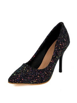 Sequins Stiletto Heel Slip On Pumps