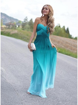 Modern Sweetheart Beading Fading Color Long Prom Dress