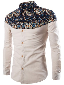 Printing Patched Lapel Mens Slim Fit Shirt