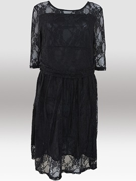 Plain Half Sleeve Slim Lace Dress