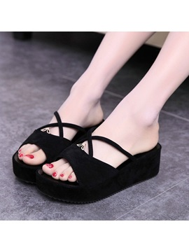 Solid Color Open Toe Suede Slippers