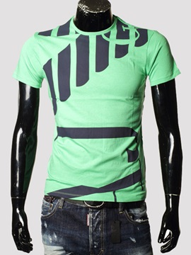 Color Block Stripe Patched Short Sleeve Mens Tee