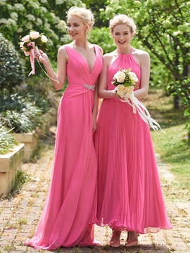 Pretty Halter A Line Ankle Length Pleats Bridesmaid Dress