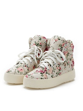 Floral Printed Lace Up Sneakers