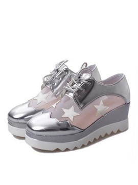 Stars Mesh Lace Up Sneakers