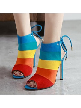 Pu Color Block Peep Toe Colorful Stiletto Heel Sandals