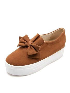 Solid Color Bowknots Slip On Sneakers