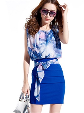 Patchwork Floral Print Bodycon Dress
