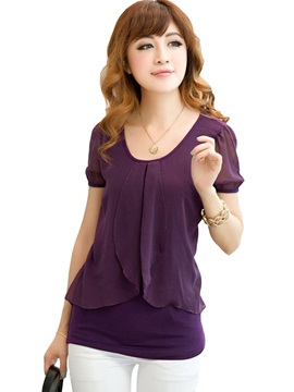 Solid Color Short Sleeve Chiffon Womens Blouse