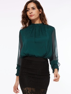 Chic Pleated Collar See Through Womens Blouse