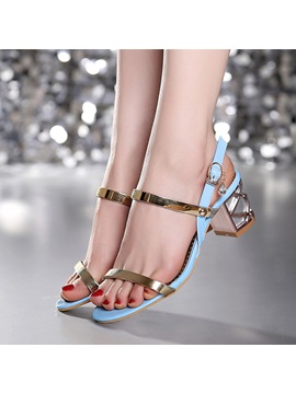 Metallic Chunky Heel Open Toe Sandals