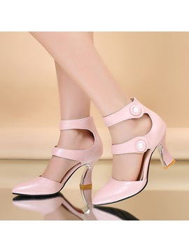 Solid Color Velcro Horse Shoe Heel Pumps