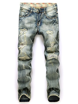 Holes Straight Loose Mid Waist Denim Mens Jean