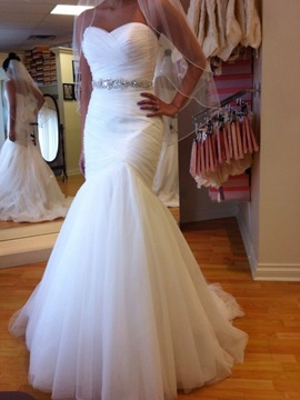 Sweetheart Crystal Waist Pleats Mermaid Wedding Dress