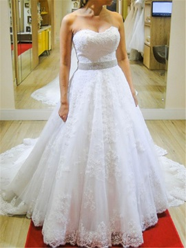 Strapless Appliques Beaded Waist Button A Line Wedding Dress