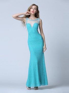Amazing Straps Beading Long Sheath Prom Dress