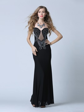 Sexy Strapless Beading Sheath Black Evening Dress