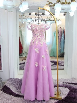 Fancy Off The Shoulder Appliques Lace Up Prom Dress