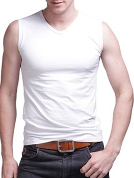 Solid Color Slim Fit Mens Sleeveless Tee