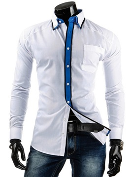 Placket Color Block Slim Fit Mens Shirt