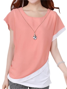Special Asymmetrical Hem Short Blouse