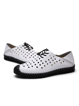 Pu Thread Lace Up Driving Shoes