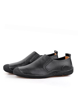 Solid Color Pu Round Toe Casual Shoes
