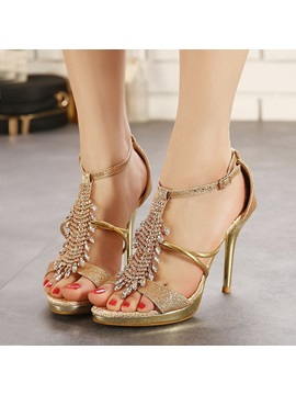 Jeweled T Strap Stiletto Heel Sandals