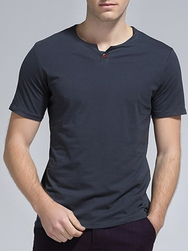 Solid Color Short Sleeve Mens Regular Fit Tee