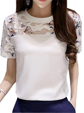 Stylish Birds Pattern Short Sleeve Blouse
