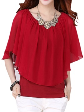 Stylish Asymmetrical Hem Batwing Sleeve Blouse