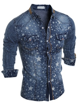 Star Printed Chest Pockets Mens Denim Shirt