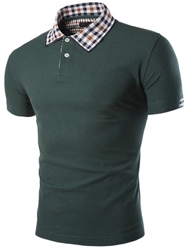 Mini Plaid Lapel Short Sleeve Mens Polo
