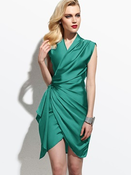 Plain Asymmetric V Neck Ruffled Work Bodycon Dress