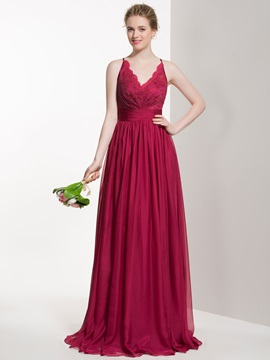 Charming V Neck Lace Long Bridesmaid Dress