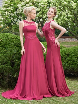 Simple Jewel A Line Long Bridesmaid Dress