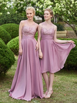 Illusion Neckline Knee Length Appliques Bridesmaid Dress