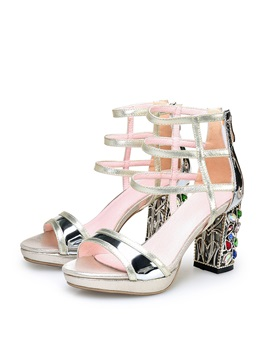 Diamond Chunky Heel Platform Sandals