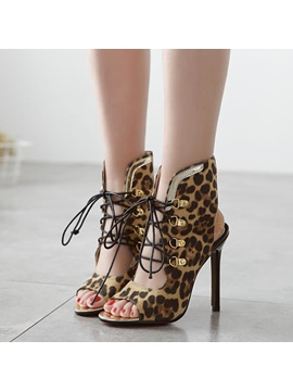 Leopard Printed Peep Toe Lace Up Sandals