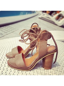 Suede Chunky Heel Lace Up Sandals