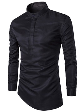 Half Placket Peaked Lapel Unbalanced Mens Shirt