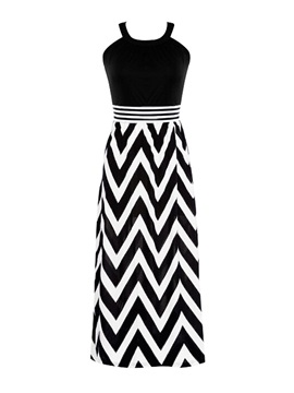 Contrast Color Stripe Empire Waist Maxi Dress
