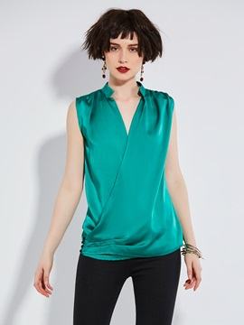 Solid Color Sleeveless Chiffon Womens Blouse