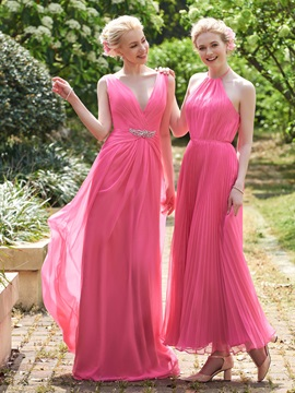 Popular V Neck Beading Long Bridesmaid Dress