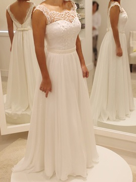 Pearls Lace Top Chiffon Beach Wedding Dress