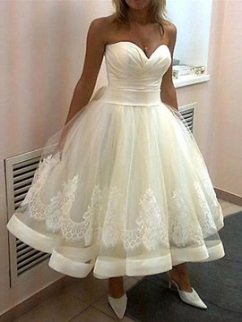 Sweeheart A Line Tea Length Wedding Dress