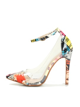 Pvc Patchwork Printed Stiletto Heel Pumps