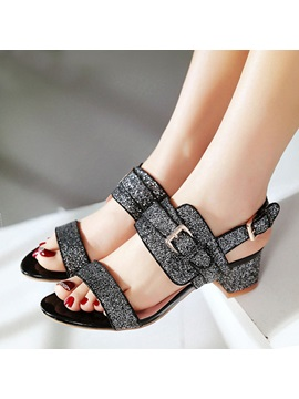 Sequins Chunky Heel Buckle Sandals